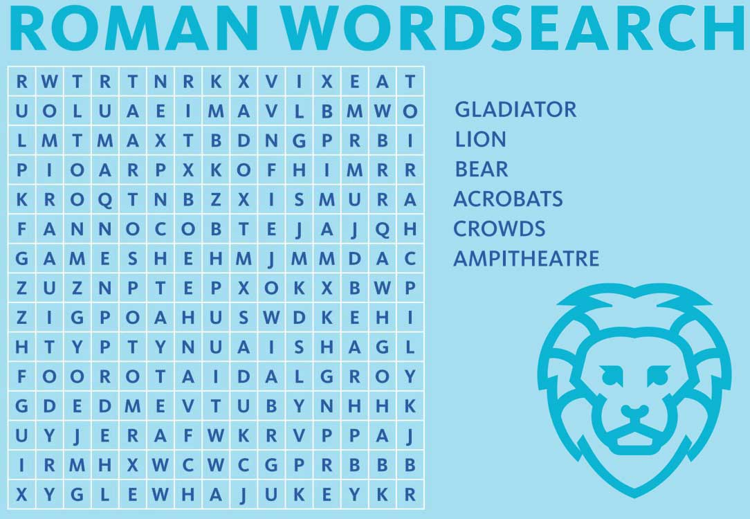 Wordsearch on the theme of Romans on a blue background with a lion illustration.