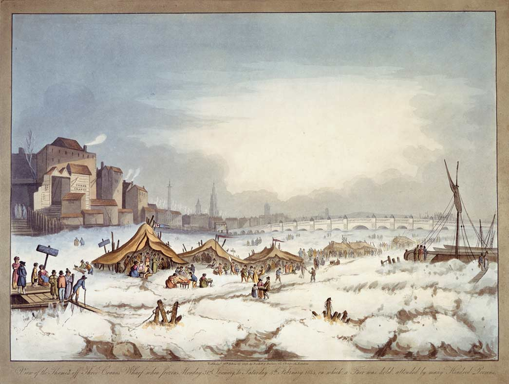 Colour aquatint showing the frost fair on the Thames published 18th February 1814. Aquatint. 'View of the Thames off Three Cranes Wharf when frozen Monday 31st January to Saturday 5th February 1814 on which a fair was held attended by many hundred persons'.