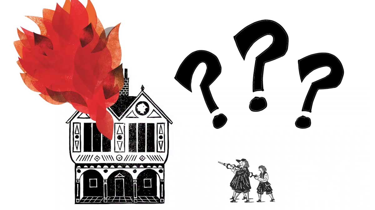 An illustration of two people trying to put out the fire on a burning 17th-century house with a water squirt.