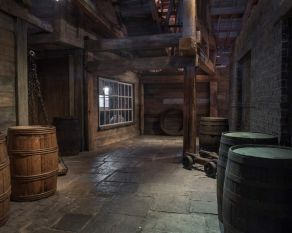 Reconstructed interior of a legal quay from 1700s, Museum of London Docklands.
