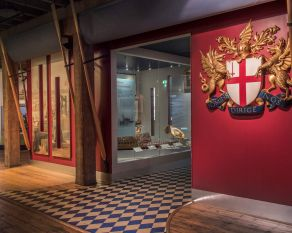 The interior of the City and River gallery at Museum of London Docklands.