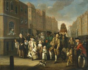 Painting May Morning by John Collet, showing a traditional London parade in the 1780s.