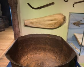Cauldron used to render whale blubber into oil.