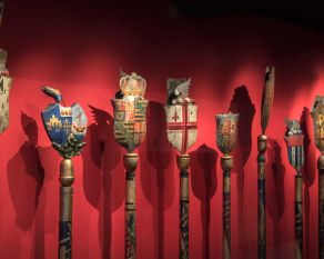 City ceremonial staves in the City Gallery.