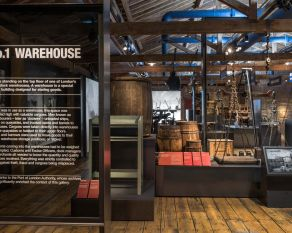 Entrance view of the No. 1 Warehouse gallery at the Museum of London Docklands.