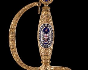 The Corporation of London presented this bejewelled honorary sword to Admiral Lord Nelson in 1800.
