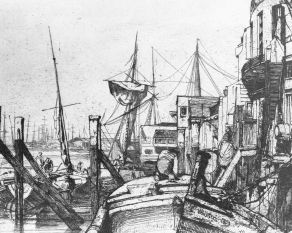Sketch of the docks at Limehouse, London, mid-19th century.