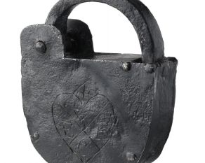 Padlock used to secure warehouses on the Thames waterside, 1700s.
