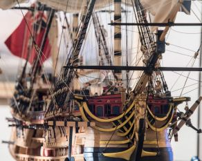 Model ship of an East Indiaman in the Trade Expansion gallery.