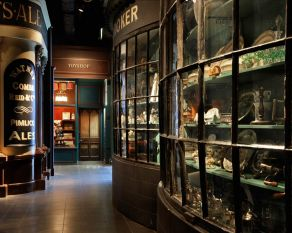 A view of a Victorian shopfront in the Victorian Walk at the Museum of London.